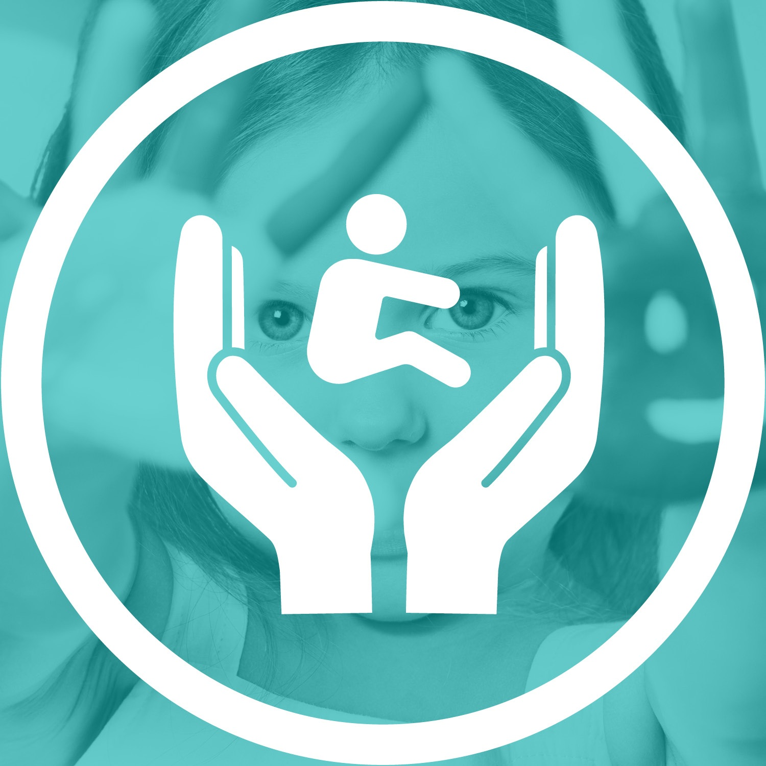Person between hands icon